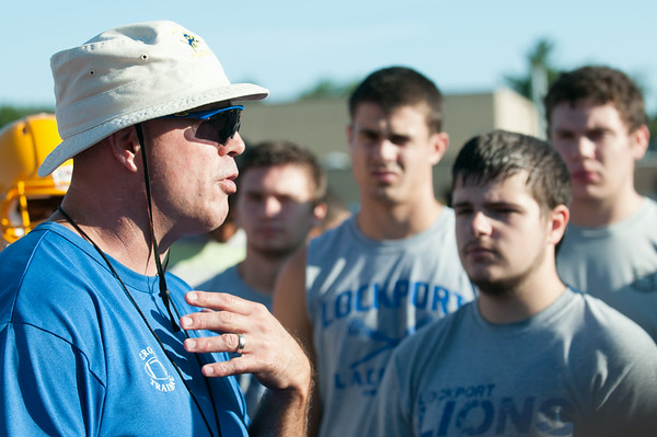 JOED VIERA/STAFF PHOTOGRAPHER-Lockport, NY- Coach gives a speech during practice on Monday, August 18th.