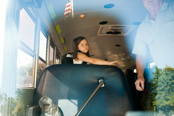 JOED VIERA/STAFF PHOTOGRAPHER-Lockport, NY-A Roy B. Kelley Elementary student waits to get off the bus for her first day of school on Wednesday, September,3rd.