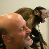 JOED VIERA/STAFF PHOTOGRAPHER-Wilson, NY-Emily a 16 year old capuchin monkey from the primate sanctuary howls  whiles standing on Carmen Presti's shoulder on Thursday, August, 21st.