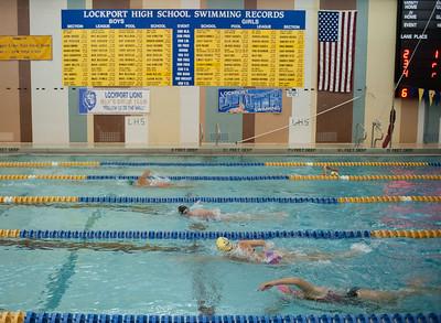 JOED VIERA/STAFF PHOTOGRAPHER-Lockport, NY-Lockport High School's swim team practices on Friday, August, 22nd.