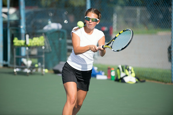 JOED VIERA/STAFF PHOTOGRAPHER-Lockport, NY-Lockport's captain Delaney Fragale a Senior practices on Monday, August 18th.