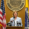 JOED VIERA/STAFF PHOTOGRAPHER-Lockport, NY- Lockport Mayor Anne McCaffrey answers reporter's questions about the state comptroller's cash flow report during a press conference at City Hall on Wednesday, August, 20th.