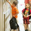 JOED VIERA/STAFF PHOTOGRAPHER-Lockport, NY-A Roy B. Kelley Elementary student opens his locker during first day of school on Wednesday, September,3rd.