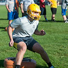 JOED VIERA/STAFF PHOTOGRAPHER-Lockport, NY-Dominic Ball a senior runs drills during practice on Monday, August 18th.