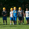 JOED VIERA/STAFF PHOTOGRAPHER-Lockport, NY-Lockport's Varisty Lions take a break during practice on Monday, August 18th.