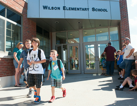 JOED VIERA/STAFF PHOTOGRAPHER-Wilson, NY-Wilson Elementary students are let out of the first day of school on Wednesday, September,3rd.