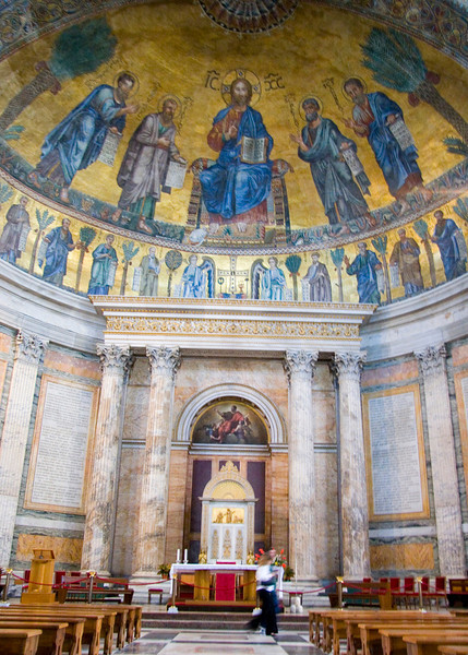 sanctuary interior, San Paolo (Saint Paul) fuori le Mura, the city's second largest basilica, Rome, Italy