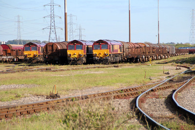 3 x 66's sit on their respective trains in Margam Knuckle Yard  13/06/14