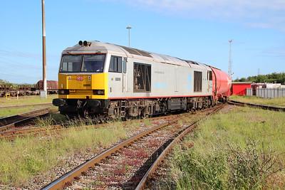 60099 1820/6B33 Theale-Robeston departing Margam Knuckle Yard afeter a loco change    13/06/14