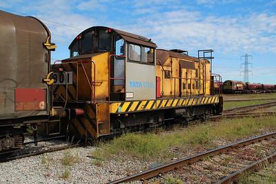 TATA Steel Industrial Shunter 901 approaching Margam Knuckle Yard   13/06/14