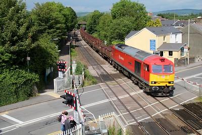 60019 1553/6B04 Llanwern-Margam passes Pencoed Station Crossing  14/06/14