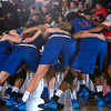 The American University Eagles huddle up prior to their Patriot League Tournament Semifinal game against the Army Black Knight's at the United States Military Academy's Christl Arena in West Point, NY on Monday, March 10, 2014. Army defeated American, 68-55, to advance to the finals. Hudson Valley Press/CHUCK STEWART, JR.