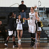 Army Forward Olivia Schretzman (12) is introduced prior to their Patriot League Tournament Semifinal game against the American University Eagles at the United States Military Academy's Christl Arena in West Point, NY on Monday, March 10, 2014. Army defeated American, 68-55, to advance to the finals. Hudson Valley Press/CHUCK STEWART, JR.