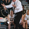 Army head coah Dave Magarity reacts to an officials call during their Patriot League Tournament Semifinal game against American at the United States Military Academy's Christl Arena in West Point, NY on Monday, March 10, 2014. Army defeated American, 68-55, to advance to the finals. Hudson Valley Press/CHUCK STEWART, JR.