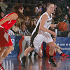Army Forward Jen Hazlett (1) handles the ball during the Patriot League Tournament Quarterfinal game against Boston at the United States Military Academy's Christl Arena in West Point, NY on Thursday, March 6, 2014. Army defeated Boston 49-45. Hudson Valley Press/CHUCK STEWART, JR.