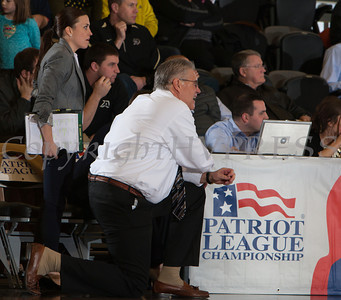 Army head coach Dave Magarity looks on during the Patriot League Tournament Quarterfinal game against Boston at the United States Military Academy's Christl Arena in West Point, NY on Thursday, March 6, 2014. Army defeated Boston 49-45. Hudson Valley Press/CHUCK STEWART, JR.