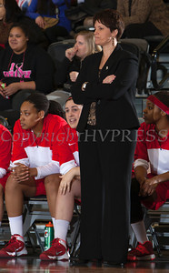 Boston University head coach Kelly Greenberg looks on as the Army Black Knight's defeated the Boston University Terriers 49-45 in their Patriot League Tournament Quarterfinal contest at the United States Military Academy's Christl Arena in West Point, NY on Thursday, March 6, 2014. Hudson Valley Press/CHUCK STEWART, JR.