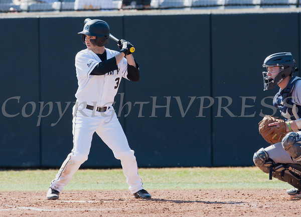 Army Black Knight OF Daniel Cortes (3) drove in three runs in Sunday's opener as Army split Sunday's doubleheader against the Bucknell Bison at Johnson Stadium at the United States Military Academy in West Point, NY. Hudson Valley Press/CHUCK STEWART, JR.