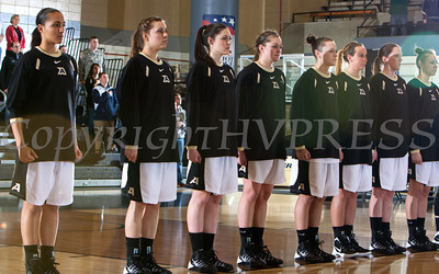 The National Anthem is sung prior to the Army Black Knight's defeating the Holy Cross Crusaders 68-58 in the Patriot League Championship game at the United States Military Academy's Christl Arena in West Point, NY on Saturday, March 15, 2014. Hudson Valley Press/CHUCK STEWART, JR.