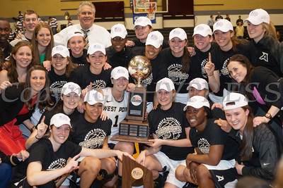 The Army Black Knight's celebrate after defeating the Holy Cross Crusaders 68-58 in the Patriot League Championship game at the United States Military Academy's Christl Arena in West Point, NY on Saturday, March 15, 2014. Hudson Valley Press/CHUCK STEWART, JR.