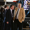 Army head coach dave Magarity and Holy Cross head coach Bill Gibbons chat prior to the Black Knight's defeating the Holy Cross Crusaders 68-58 in the Patriot League Championship game at the United States Military Academy's Christl Arena in West Point, NY on Saturday, March 15, 2014. Hudson Valley Press/CHUCK STEWART, JR.