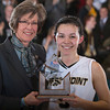 Army Guard Kelsey Minato (5) was named the Most Valuable Player (MVP) following the Army Black Knight's defeating the Holy Cross Crusaders 68-58 in the Patriot League Championship game at the United States Military Academy's Christl Arena in West Point, NY on Saturday, March 15, 2014. Hudson Valley Press/CHUCK STEWART, JR.