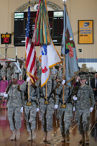 The colors are presented prior to the Army Black Knight's being defeated by the Holy Cross Crusaders 92-85 at the United States Military Academy's Christl Arena in West Point, NY on Wednesday, February 12, 2014. Hudson Valley Press/CHUCK STEWART, JR.