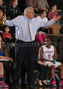 Army head coach Dave Magarity reacts to a call as the Black Knight's were defeated by the Holy Cross Crusaders 92-85 at the United States Military Academy's Christl Arena in West Point, NY on Wednesday, February 12, 2014. Hudson Valley Press/CHUCK STEWART, JR.
