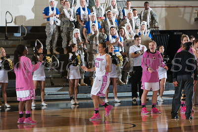 Army Forward Brianna Johnson (41) is introduced prior to the Black Knight's being defeated by the Holy Cross Crusaders 92-85 at the United States Military Academy's Christl Arena in West Point, NY on Wednesday, February 12, 2014. Hudson Valley Press/CHUCK STEWART, JR.