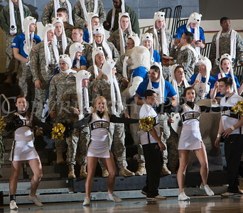 Army cheerleaders entertain the crowd as the Black Knight's were defeated by the Holy Cross Crusaders 92-85 at the United States Military Academy's Christl Arena in West Point, NY on Wednesday, February 12, 2014. Hudson Valley Press/CHUCK STEWART, JR.