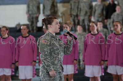 An Army cadet signs the national anthem prior to the Black Knight's being defeated by the Holy Cross Crusaders 92-85 at the United States Military Academy's Christl Arena in West Point, NY on Wednesday, February 12, 2014. Hudson Valley Press/CHUCK STEWART, JR.