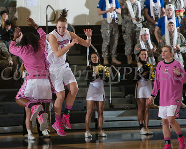 Army Guard Jen Hazlett (1) is introduced prior to the Black Knight's being defeated by the Holy Cross Crusaders 92-85 at the United States Military Academy's Christl Arena in West Point, NY on Wednesday, February 12, 2014. Hudson Valley Press/CHUCK STEWART, JR.