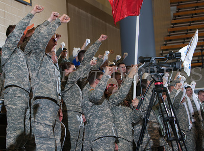 The Army cadets cheer for the Black Knight's as they were defeated by the Holy Cross Crusaders 92-85 at the United States Military Academy's Christl Arena in West Point, NY on Wednesday, February 12, 2014. Hudson Valley Press/CHUCK STEWART, JR.