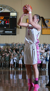 Army Guard Jen Hazlett (1) puts up a shot as the Black Knight's were defeated by the Holy Cross Crusaders 92-85 at the United States Military Academy's Christl Arena in West Point, NY on Wednesday, February 12, 2014. Hudson Valley Press/CHUCK STEWART, JR.