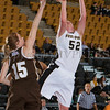 Army Forward Stephanie Geyer (52) drives to the basket as Lindsay Hoskins (15) defends. The Black Knight's defeated the Lehigh Mountain Hawks 74-63 at the United States Military Academy's Christl Arena in West Point, NY on Wednesday, January 8, 2014. Hudson Valley Press/CHUCK STEWART, JR.