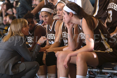Lehigh head coach Sue Troyan talks with players during a time out. The Army Black Knight's defeated the Lehigh Mountain Hawks 74-63 at the United States Military Academy's Christl Arena in West Point, NY on Wednesday, January 8, 2014. Hudson Valley Press/CHUCK STEWART, JR.