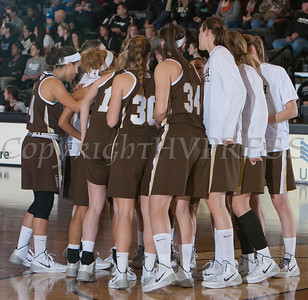 The Lehigh Mountain Hawks huddle up prior to their patriot league game against Army. The Black Knights defeated Lehigh 74-63 at the United States Military Academy's Christl Arena in West Point, NY on Wednesday, January 8, 2014. Hudson Valley Press/CHUCK STEWART, JR.