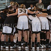 The Army Black Knight's huddle up prior to their patriot league game against the Lehigh Mountain Hawks. The Black Knights defeated Lehigh 74-63 at the United States Military Academy's Christl Arena in West Point, NY on Wednesday, January 8, 2014. Hudson Valley Press/CHUCK STEWART, JR.