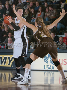 Army Forward Olivia Schretzman (12) scored 16 points as the Black Knight's defeated the Lehigh Mountain Hawks 74-63 at the United States Military Academy's Christl Arena in West Point, NY on Wednesday, January 8, 2014. Hudson Valley Press/CHUCK STEWART, JR.