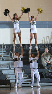 The Army Black Knight cheerleaders keep the crowd entertained as Army defeated the Lehigh Mountain Hawks 74-63 at the United States Military Academy's Christl Arena in West Point, NY on Wednesday, January 8, 2014. Hudson Valley Press/CHUCK STEWART, JR.