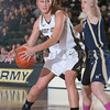 Army Forward Aimee Oertner (33) handles the ball as the Black Knight's defeated the Navy Midshipmen 54-48 at the United States Military Academy's Christl Arena in West Point, NY on Saturday, February 8, 2014. Hudson Valley Press/CHUCK STEWART, JR.