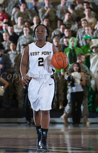 Army Guard Brigette Ocran (2) handles the ball as the Black Knight's defeated the Navy Midshipmen 54-48 at the United States Military Academy's Christl Arena in West Point, NY on Saturday, February 8, 2014. Hudson Valley Press/CHUCK STEWART, JR.