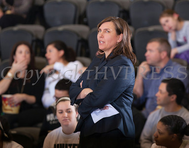 Navy head coach Stefanie Pemper watches as the Black Knight's defeated the Navy Midshipmen 54-48 at the United States Military Academy's Christl Arena in West Point, NY on Saturday, February 8, 2014. Hudson Valley Press/CHUCK STEWART, JR.