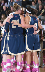 The Navy Midshipmen huddle up as the Black Nights defeated Navy 54-48 at the United States Military Academy's Christl Arena in West Point, NY on Saturday, February 8, 2014. Hudson Valley Press/CHUCK STEWART, JR.