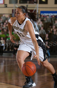 Army Forward Brianna Johnson (41)  handles the ball as the Black Knight's defeated the Navy Midshipmen 54-48 at the United States Military Academy's Christl Arena in West Point, NY on Saturday, February 8, 2014. Hudson Valley Press/CHUCK STEWART, JR.