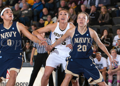 Navy's Alix Membreno (0) and Audrey Bauer (20) box out Army's Danielle Failor (35) as the Black Knight's defeated the Navy Midshipmen 54-48 at the United States Military Academy's Christl Arena in West Point, NY on Saturday, February 8, 2014. Hudson Valley Press/CHUCK STEWART, JR.