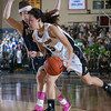 Army Guard Kelsey Minato (5) drives to the basket as the Black Knight's defeated the Navy Midshipmen 54-48 at the United States Military Academy's Christl Arena in West Point, NY on Saturday, February 8, 2014. Hudson Valley Press/CHUCK STEWART, JR.