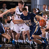 Army's Matt gramling (14) defends Navy's Tim Abruzzo (35). The Black Knight's were defeated by the Navy Midshipmen 79-57 at the United States Military Academy's Christl Arena in West Point, NY on Saturday, February 8, 2014. Hudson Valley Press/CHUCK STEWART, JR.