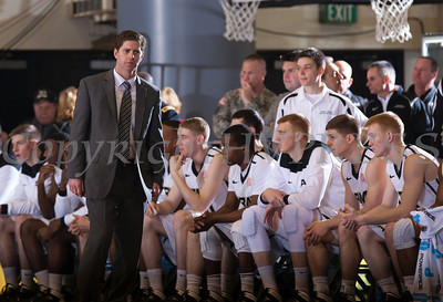 Army head coach Zach Spiker looks on as the Black Knight's were defeated by the Navy Midshipmen 79-57 at the United States Military Academy's Christl Arena in West Point, NY on Saturday, February 8, 2014. Hudson Valley Press/CHUCK STEWART, JR.