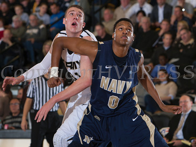 Army's Kevin Ferguson (31) and Navy's Will Kelly (0) battle for rebound position as the Black Knight's were defeated by the Navy Midshipmen 79-57 at the United States Military Academy's Christl Arena in West Point, NY on Saturday, February 8, 2014. Hudson Valley Press/CHUCK STEWART, JR.